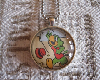 """Old Papers - """"José Carioca"""" glass cabochon necklace - upcycled gift idea"""