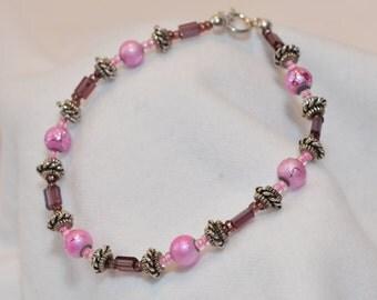Pink & Purple Beaded Bracelet