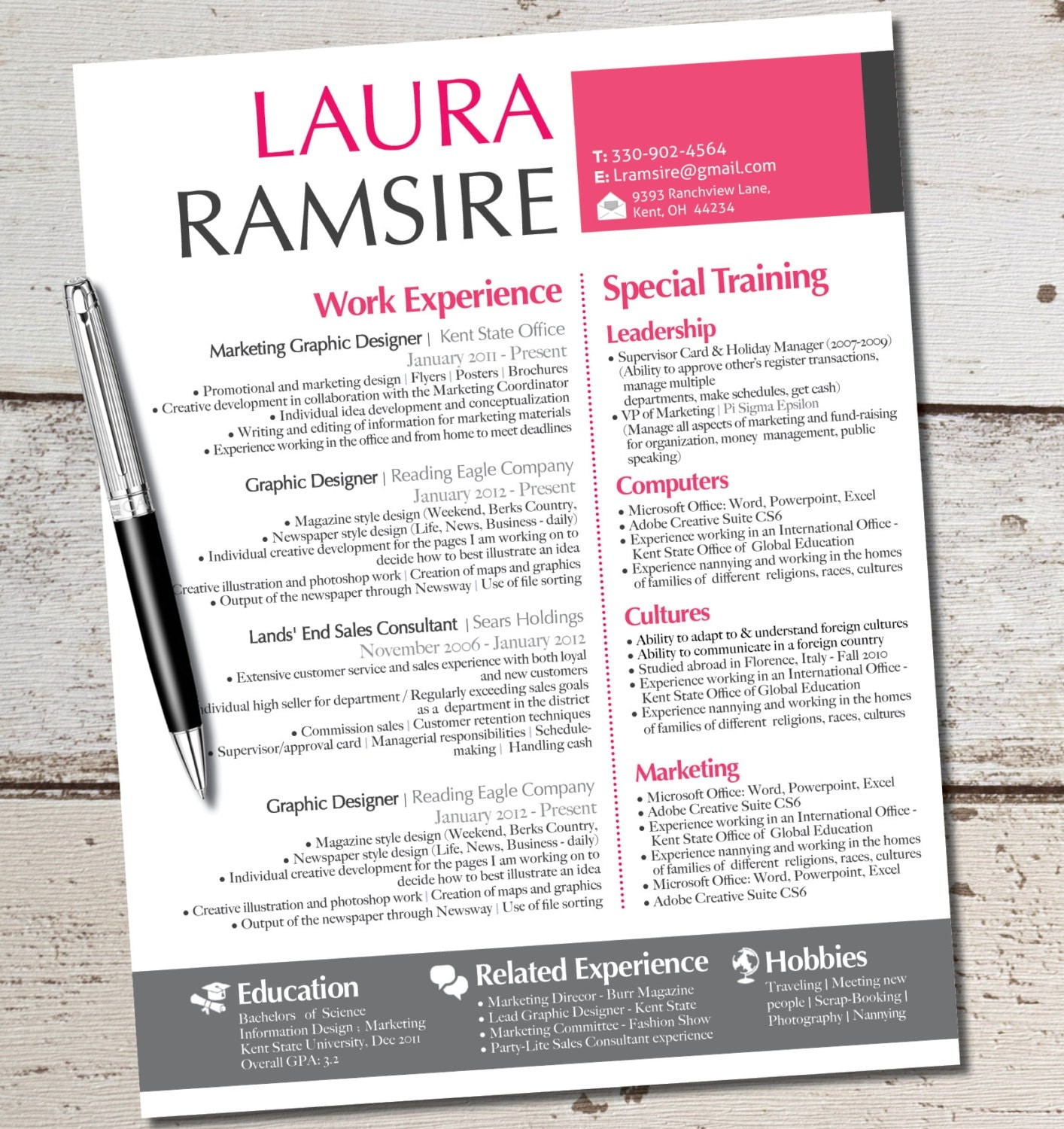 the laura jane resume modern custom design by vivifycreative