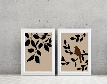Bathroom Art Print. Living Room Wall Decor. Tree Branch Decor - Tree Bird Art - Tree Bird Print. Tree Decor. Bedroom Art. Bath Art. (NS-676)