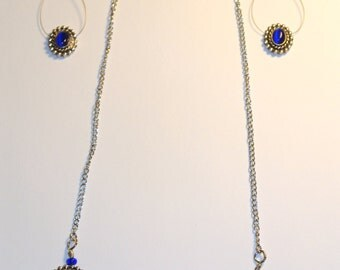 SALE NOW 20% OFF Royal Blue and Silver Necklace and Earrings Set of 2