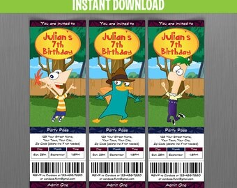 Disney Phineas and Ferb Birthday Ticket Invitations - Instant Download and Edit with Adobe Reader