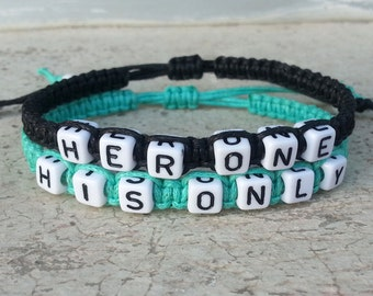 Couples Bracelets, His One Her Only Matching Jewelry, Boyfriend Girlfriend  CP-378