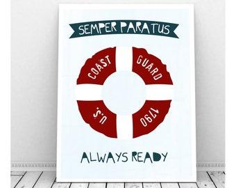 Coast Guard Art,  U S Coast Guard, Nautical Nursery Art, Instant Digital Download, Nautical Nursery Decor, Coast Guard Baby, Life Preserver