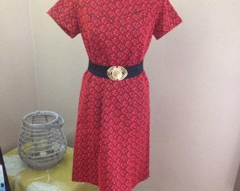 Vintage 1960s Dress Handmade Red Black Shift Dress, Mod ET1