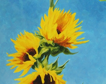 "Sunflower Tower Original Botanical Art Acrylic on Canvas 18""x36"""