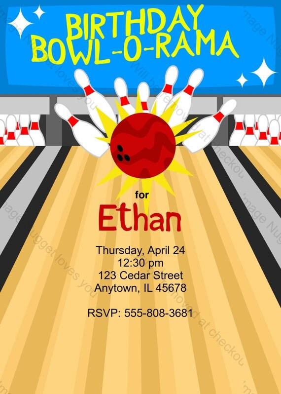bowling birthday invitation printable design customizable