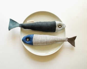 Soft Fabric Fish Toy- Beach, Summer House Decor- nautical decor-Feast of St Anthony- Lisbon's sardine festival