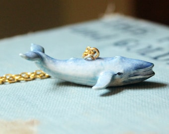 blue whale necklace // ceramic whale necklace // animal figurine necklace // unique jewelry