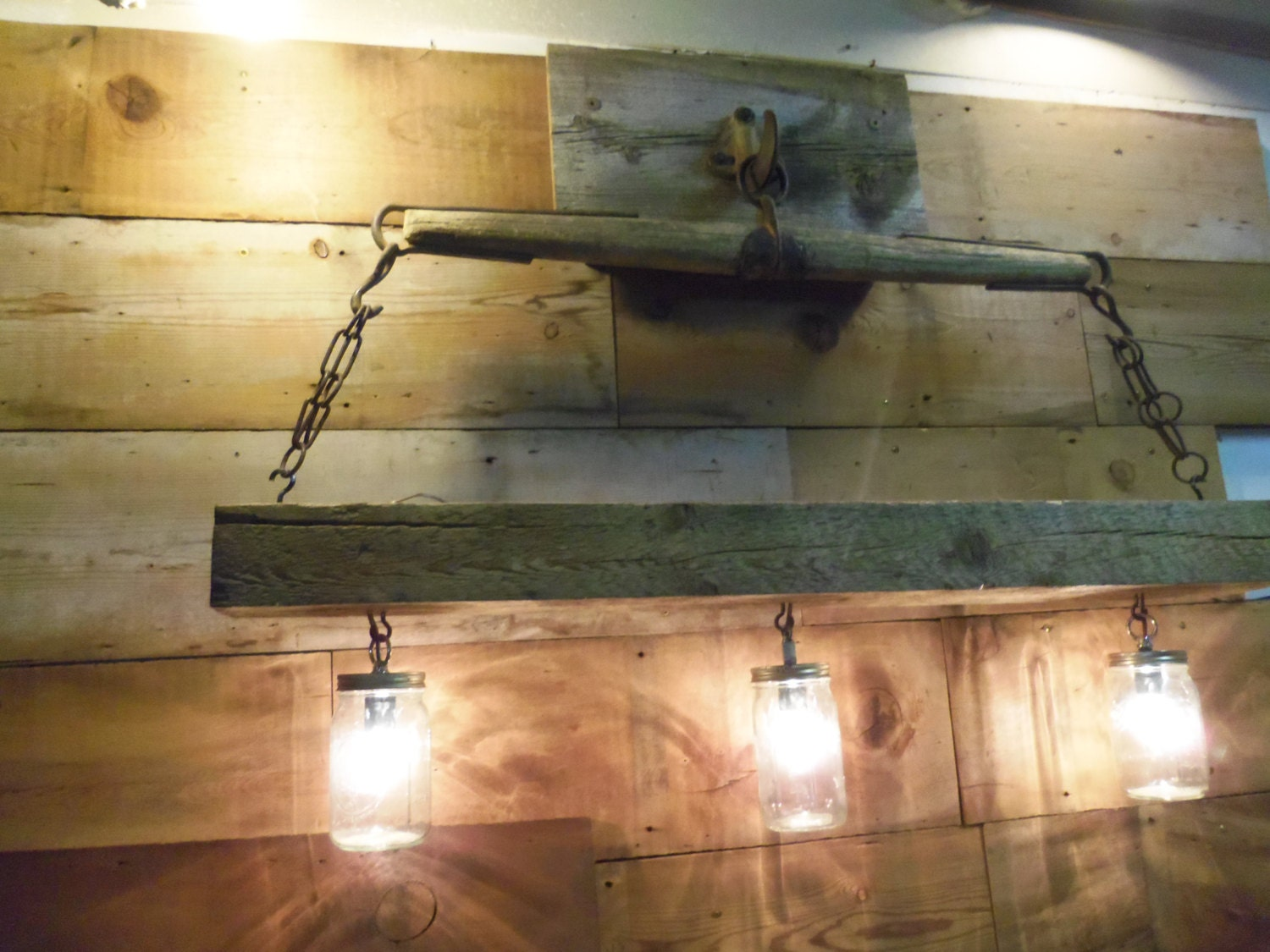 reclaimed barn beam and antique horse yoke chandeliermason. Black Bedroom Furniture Sets. Home Design Ideas