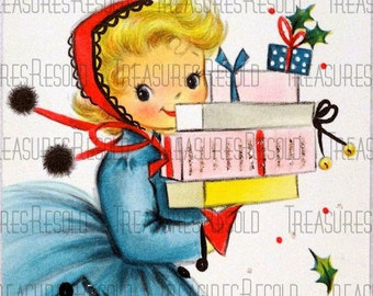 Girl With Presents Christmas Card #81 Digital Download
