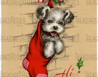 Puppy Dog Christmas in Stocking Christmas Card #150 Digital Download