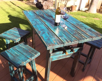 Rustic Dining Bar Table with Wine Rack