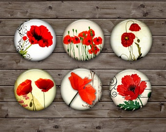 Red Poppies Digital Collage Sheet 0.5inch 10mm 12mm 14mm 16mm Printable Circle Images for Earrings, Cuff Links - Flowers - Instant Download