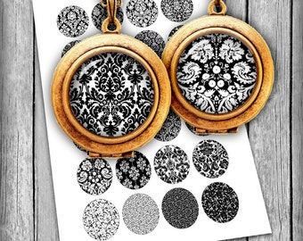 Damask  Round Images 1.5inch, 1.25 inch, 30mm, 1 inch, 25mm Damask Pattern Black & White Digital Collage Sheet Printable Images