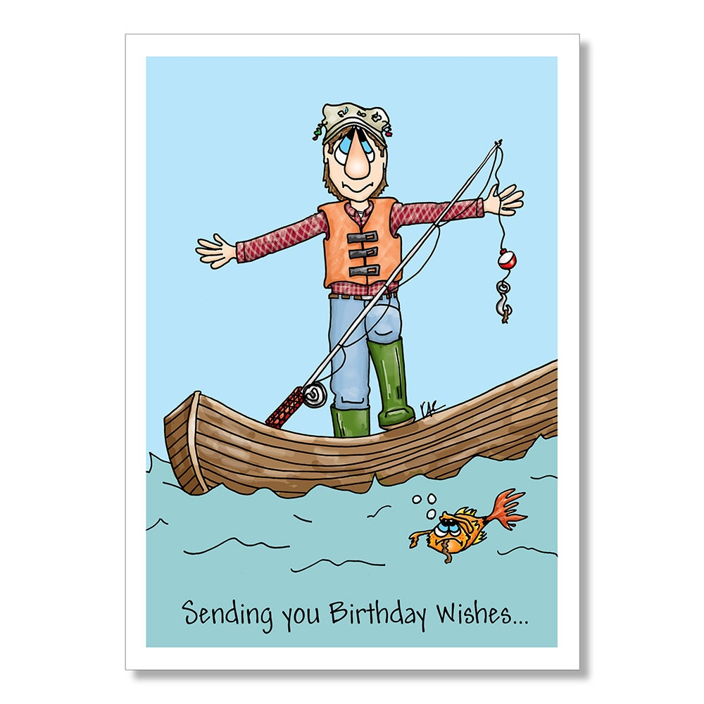 Birthday Card for Fisherman Funny Birthday Card Fisherman in – Fish Birthday Cards