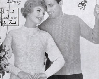 Ribbed Sweaters for Him and for Her - ORIGINAL 1950's Vintage Knitting Pattern Robin 258 - Printed in England