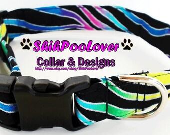 Glitter Rainbow Zebra Adjustable Dog or Cat Collar (Matching Leash Available)