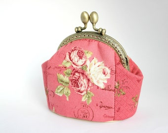 Valentine Gift Coin Purse Red Floral Roses Coin Purse Frame Purse Girlfriend Gift Mom Sister Gift Make Up bag Flowers Coin purse Leather