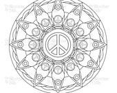 peace sign mandala image download coloring book page digital scrapbook clipart graphic line art