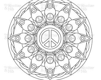 Peace Sign Mandala Coloring Pages | Coloring Pages