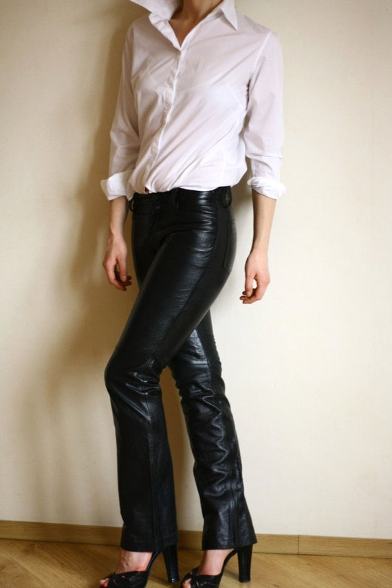 Brilliant GAP Vintage Black LEATHER Bootcut Jeans SEXY MOTORCYCLE PANTS Womens