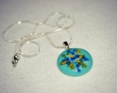 Turquoise Teal Fused Glass Necklace, Fused Glass Pendant,
