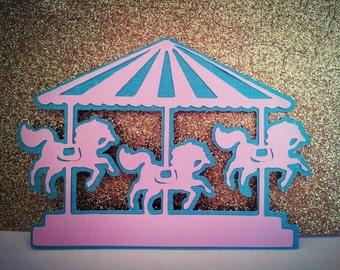 One Carousel merry go round sign embellishment, party birthday decor
