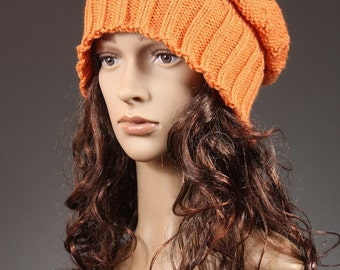 Slouchy Hat, Slouchy Beanie, slouch beanie, slouch hat, Womens Slouch Beanie, knit slouchy beanie, knit slouchy hat, Chunky Hat Orange