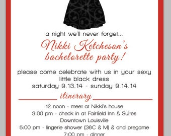 Digital Proof of Little Black Dress Bachelorette Party Invitation