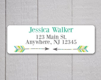 Arrow Address Labels, Return Address Labels, Arrow Address Label, Return Address Sticker, Green Teal and Grey Address Stickers  (#322-4)