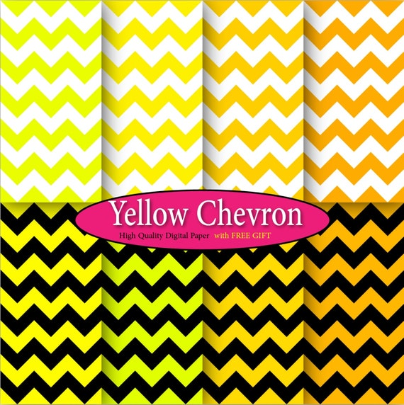Yellow Chevron digital paper chevron clip art yellow gold clipart Yellow chevron baby shower Yellow chevron decor chevron digital background
