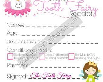 Tooth Fairy Receipt for Girls