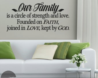 Our Family Is A Circle Of Strength And Love Vinyl Wall Decal Sticker