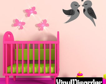 Love Birds Wall Decal - Wall Fabric - Vinyl Decal - Removable and Reusable - BirdUScolor001ET