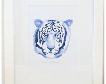 Water colour Tiger Print Indigo