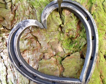 Heart-Shaped Horseshoes, 'Unicorn Shoes'; Blacksmith Forged by GILL & SON: Ideal for weddings, iron anniversary gift; talisman of love.
