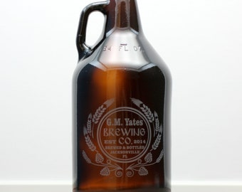 Personalized Home Brew Growler with hops and wheat Homebrew, personalized,1 gallon growler,32oz growlette, 64oz growler, Beer Gift,  Beer