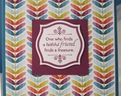 Handmade Friendship Greeting Card in Turquoise Raspberry and Multicolored