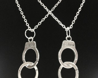 2 Necklaces Large Handcuff Partners In Crime Friends Forever Friendship Necklace Set