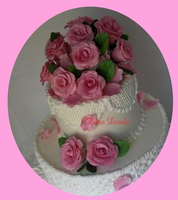 Edible Rose Cake Decoration : Pink Gumpaste Roses & Rose Petals Cake Topper Handmade Edible