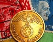 Authentic Antique Nazi Germany  10 Reichspfennig  Brass Coin.