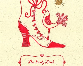 Vintage Style Gocco Screenprint Bird Print Edwardian Victorian Boot Art Print