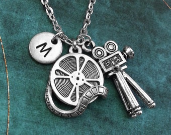 Movie Camera Necklace, Personalized Necklace, Movie Camera Pendant, Movie Lover Gift, Monogram Necklace, Film Student Gift, Charm Necklace