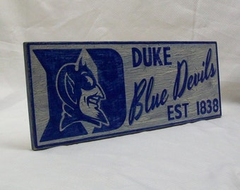 "Duke Blue Devils wall sign, 6 1/2"" x 17"", distressed"