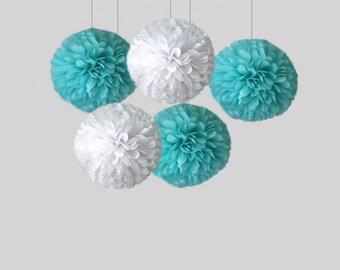 "Aqua pom   Blue set of tissue paper pom poms   18"" pom    Tiffany blue poms   Wedding decor   birthday   Reception   Frozen decor"