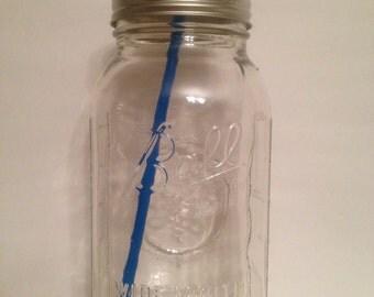 Extra Large Glass Mason Jar Tumbler, 64 oz Mason Jar Tumbler, Mason Jar Straw Cup, Mason Jar Glass, Mason Jar Cup, Straw Cup, Glass Tumbler