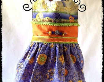 CELESTIAL LOVE Sun, Moon and Stars Small Dog Dress,  All Original Glass Beads, Silver, Cotton Fabrics, Fully Lined, Artist Made