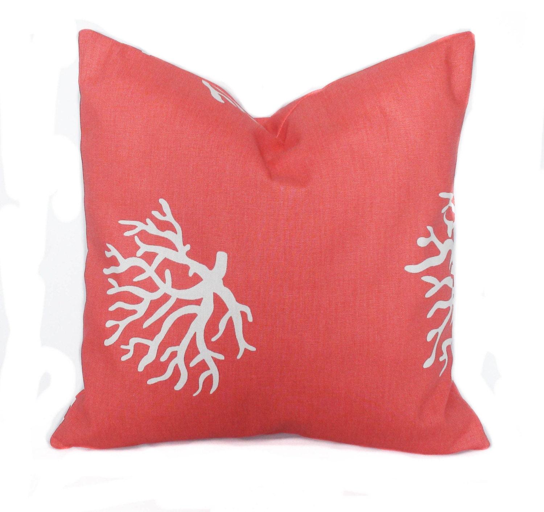 Decorative Pillow Placement : Throw pillows Coral pillows 18x18 Pillow cover Decorative