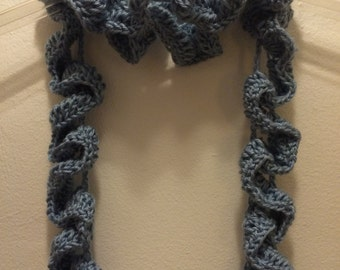Country Blue Squiggle Stitch Crocheted Scarf